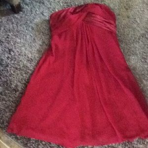 David's bridal formal, size 8, strapless,midi, red